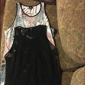 Two Woman's Long Burn-Out Tanks-Multi & Black XXL
